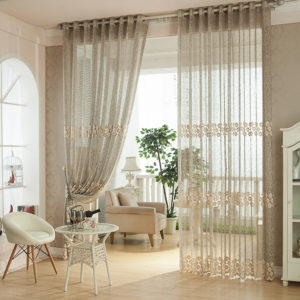 Stunning-Design-Of-The-Living-Room-Drapes-With-Brown-Wooden-Floor-Ideas-Added-With-Grey-Curtain-Ideas